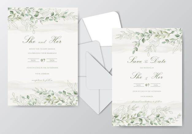 Cartões de convite de casamento elegante em aquarela com folhas bonitas