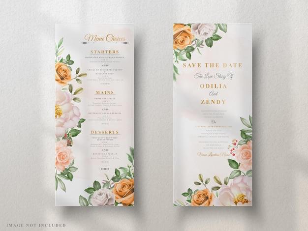 Cartões de convite de casamento elegantes florais