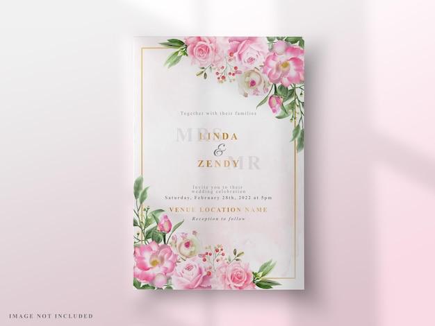 Cartões de convite de casamento elegantes rosas