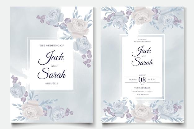 Cartões de convite de casamento em aquarela com vetor premium de flores rosas