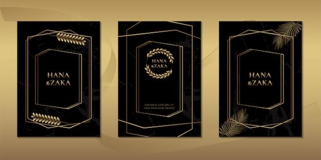 Cartões de convite de casamento em mármore preto folha de ouro