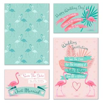 Cartões de convite de casamento flamingo
