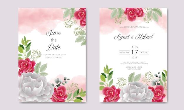 Cartões de convite de casamento floral bonito e elegante