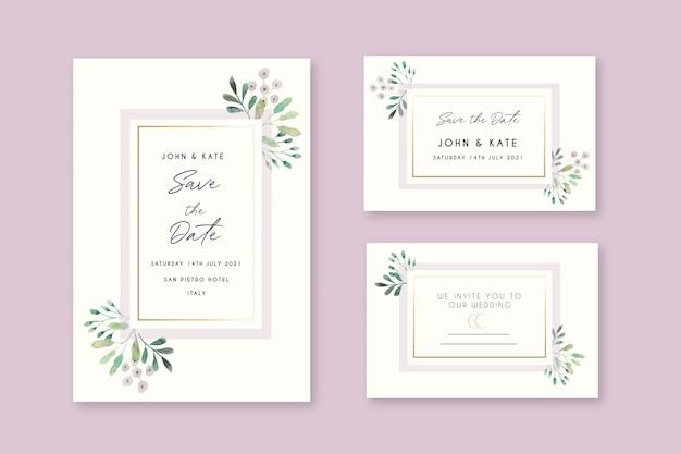 Cartões de convite de casamento floral bonito