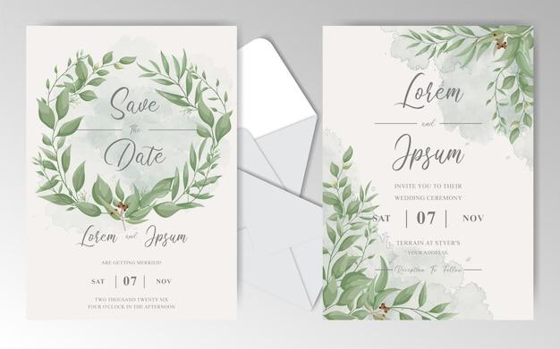 Cartões de convite de casamento floral elegante com folhas bonitas