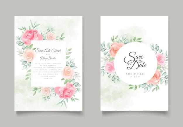 Cartões de convite de casamento floral em aquarela