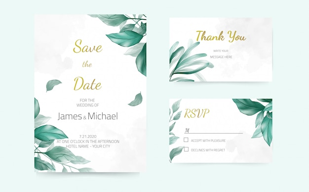 Cartões de convite de casamento floral rosa, cor vermelha, aquarela, design moderno. cartão decorativo