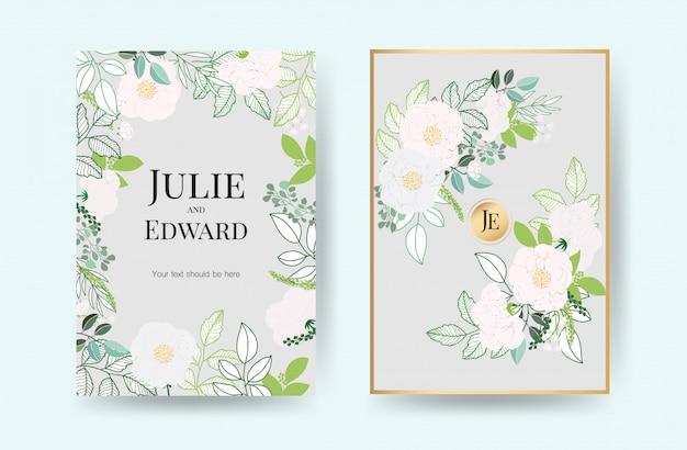 Cartões de convite de casamento floral vector