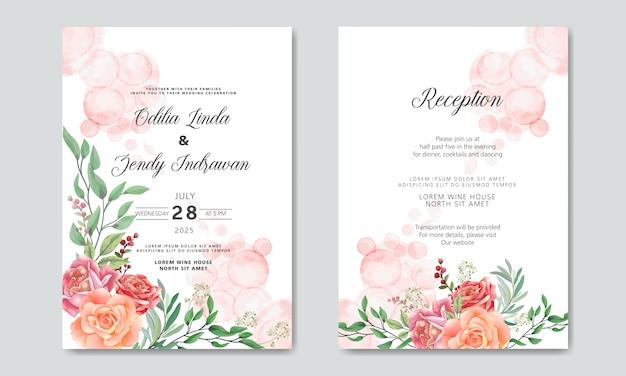 Cartões de convite de casamento linda flor