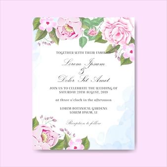 Cartões de convite de casamento lindas flores desenhadas à mão