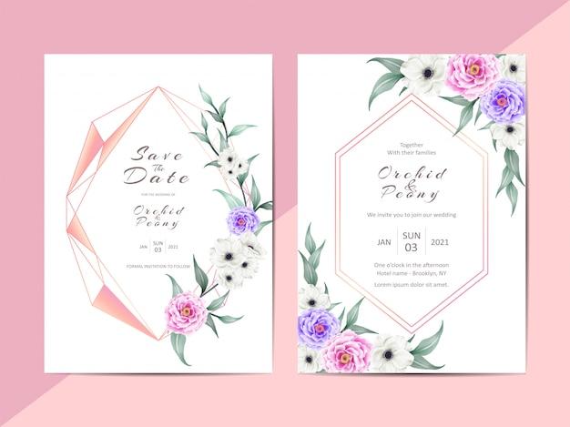 Cartões de convite de casamento moderno com moldura geométrica