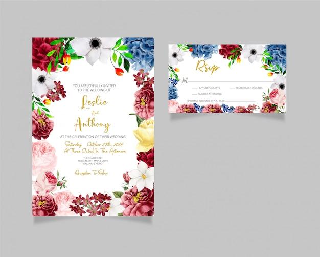 Cartões de convite de casamento moderno e cartão rsvp