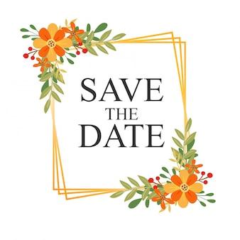 Cartões de convite de casamento temático floral e molduras douradas