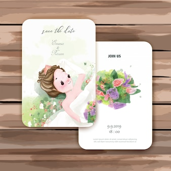 Cartões de convite de casamento.