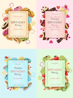 Cartões de convite de festa de aniversário coloridos