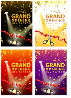 Cartões de convite de inauguração em quatro conjuntos de cores