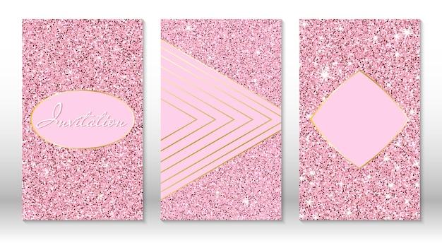 Cartões de convite de ouro rosa de brilho chique. lantejoulas de ouro rosa. textura de glitter dourado.