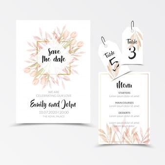 Cartões de convite de quadro floral aquarela