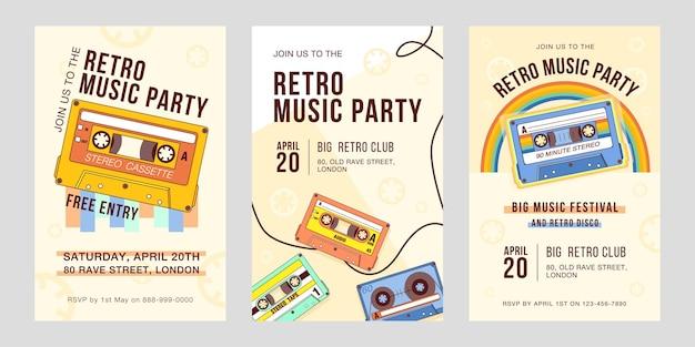 Cartões de convite elegante para festa de música retro.
