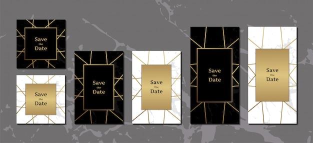 Cartões de convite elegante preto e branco