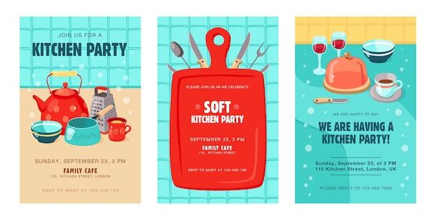 Cartões de convite elegantes com utensílios de cozinha