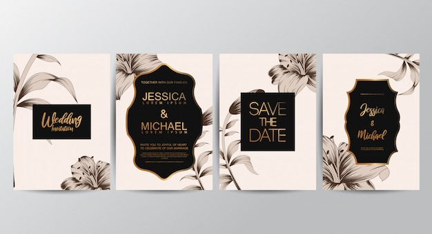 Cartões de convite floral