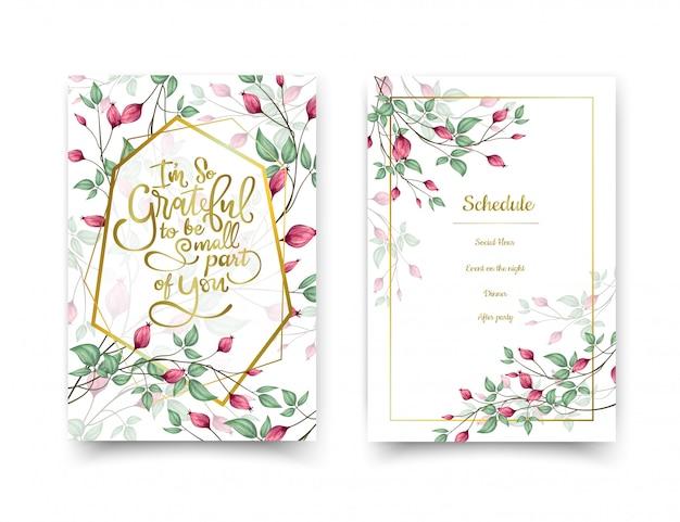 Cartões de convite floral.