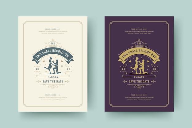 Cartões de convite para salvar a data de casamento florescem enfeites