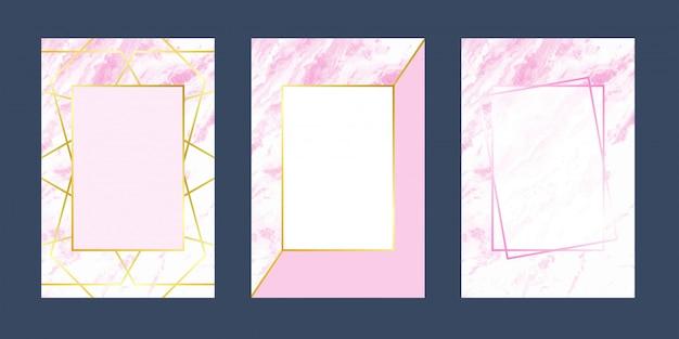 Cartões de convite rosa textura de luxo em mármore branco