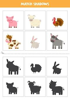 Cartões de correspondência de sombra para crianças em idade pré-escolar. animais de fazenda fofos.