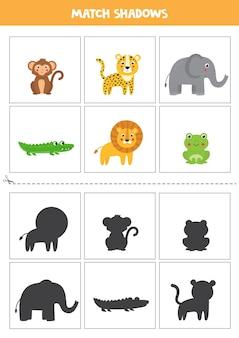 Cartões de correspondência de sombra para crianças em idade pré-escolar. animais selvagens fofos.