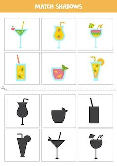 Cartões de correspondência de sombra para crianças em idade pré-escolar. coquetéis de verão bonito dos desenhos animados.