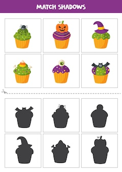 Cartões de correspondência de sombra para crianças em idade pré-escolar. cupcakes de halloween.