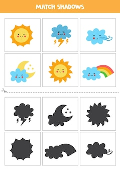 Cartões de correspondência de sombra para crianças em idade pré-escolar. fenômeno climático dos desenhos animados kawaii.