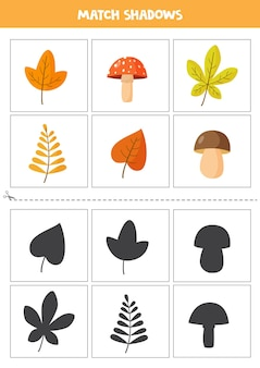 Cartões de correspondência de sombra para crianças em idade pré-escolar. folhas de outono e cogumelos.