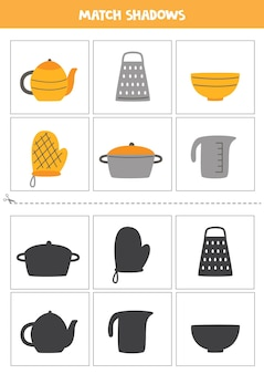 Cartões de correspondência de sombra para crianças em idade pré-escolar. utensílios de cozinha.