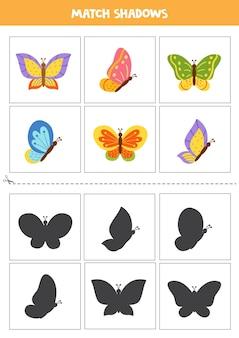 Cartões de correspondência de sombra para crianças pré-escolares. borboletas de bonito dos desenhos animados.