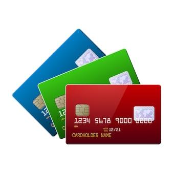 Cartões de crédito brilhantes realistas altamente detalhados mock up conjunto