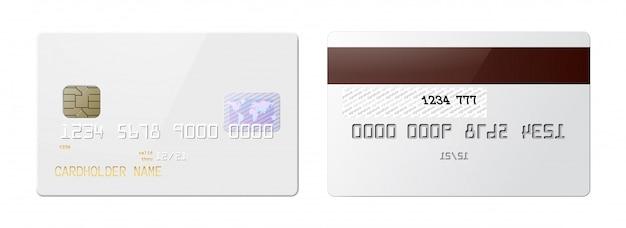 Cartões de crédito brilhantes realistas altamente detalhados