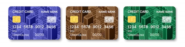 Cartões de crédito conjunto modelo multicolor