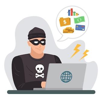 Cartões de crédito de hackers de personagens