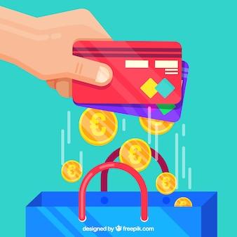 Cartões de crédito, moedas e shoppins