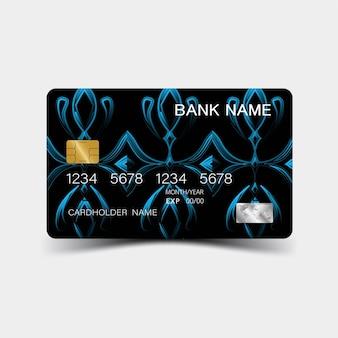Cartões de crédito realistas e detalhados com inspiração na cor abstrata azul e preta sobre o cinza