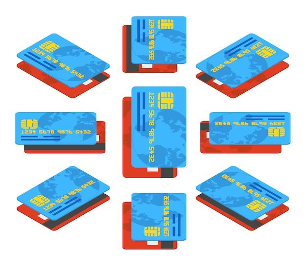 Cartões de crédito vermelhos e azuis isométricos