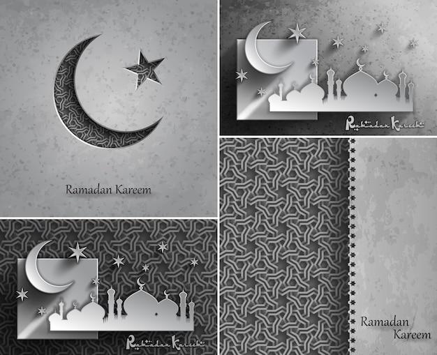 Cartões de cumprimentos da celebração do ramadã kareem para o mês sagrado da comunidade muçulmana,