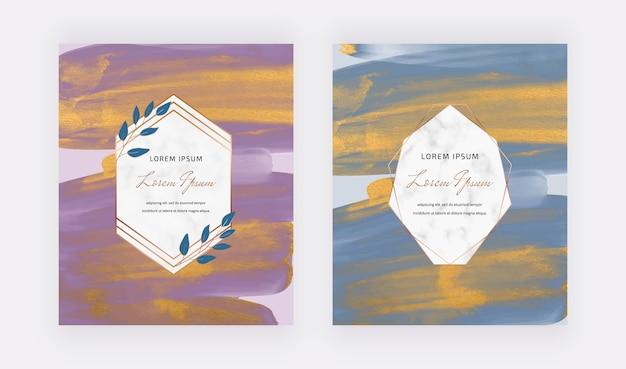 Cartões de desenho aquarela pincelada roxa e azul com molduras geométricas de mármore.