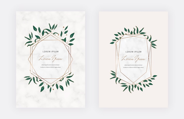 Cartões de design botânico com molduras geométricas em mármore e folhas verdes. modelos modernos