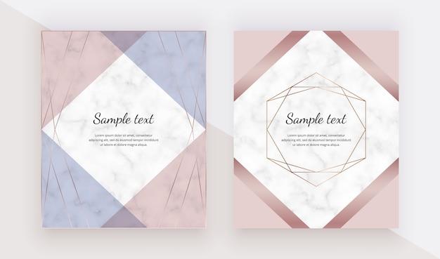Cartões de design geométrico ouro rosa com quadros de linhas poligonais.