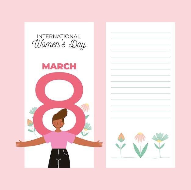 Cartões de dia da mulher feliz com garota africana e número oito com flores. ilustração