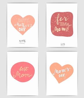 Cartões de dia das mães feliz conjunto de vetores de dia das mães